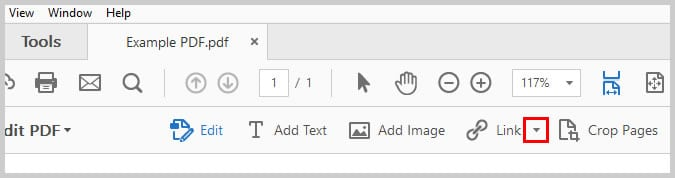 Image of the Link down arrow | How to Create External Links in PDFs with Adobe Acrobat