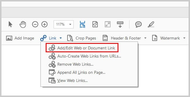 Image of Adobe Acrobat Add/Edit Web or Document Link | Step 4 in How To Create Internal Links in PDFs