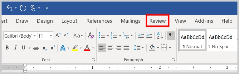 Image of Word Review Tab | Step 1 in Running a Spelling & Grammar Check