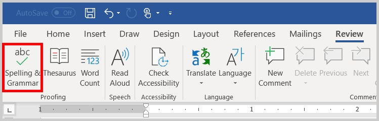Image of Word Spelling & Grammar Button in the Ribbon | Step 2 in Running an Spelling & Grammar Check