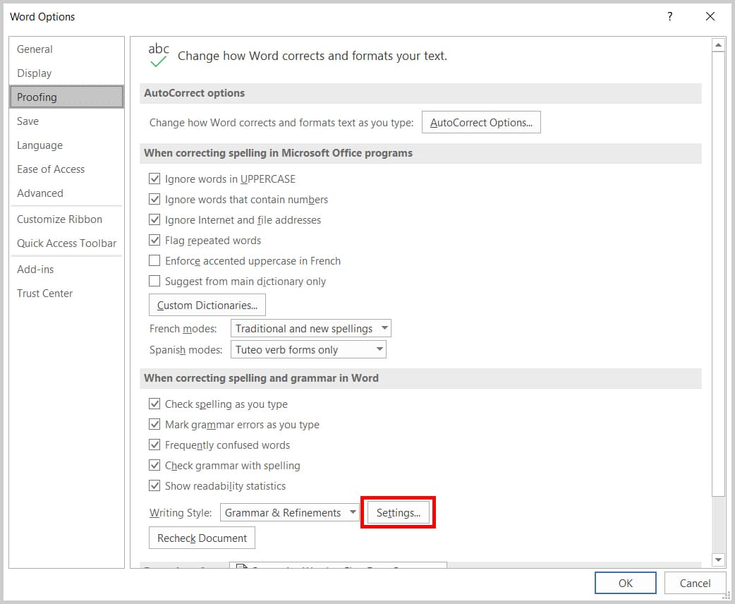Image of Word Options Dialog Box | Step 5 in How to Find Extra Spaces in Word by Customizing the Proofing Options