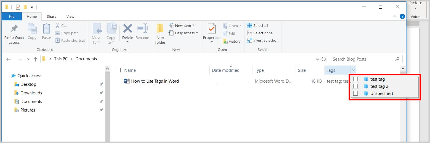 Image of Windows File Explorer Tag Menu