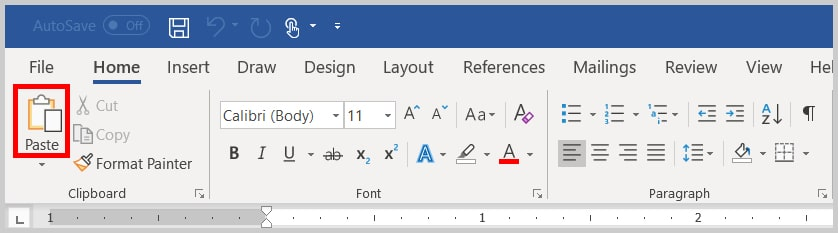 Image of Word 365 / Word 2019 Paste in the Clipboard Group | Step 12 in How to Copy and Paste Text with Comments and Track Changes in Word