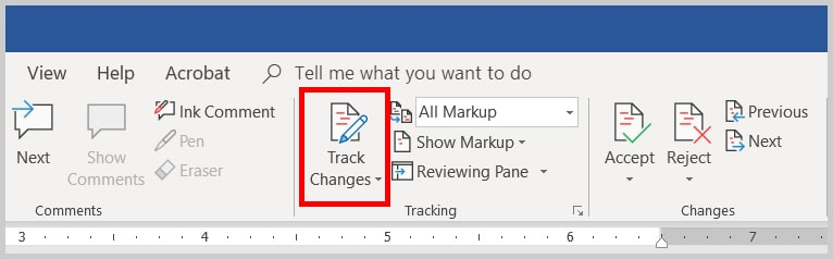Image of Word 365 / Word 2019 Track Changes Turned Off | Step 3 in How to Copy and Paste Text with Comments and Track Changes in Word