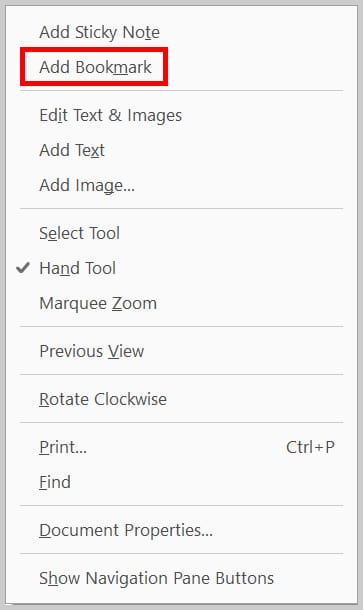 Image of Adobe Acrobat Pro Pop-Up Menu with Add Bookmark Option | Step 2 in Create a Bookmark without a Selection