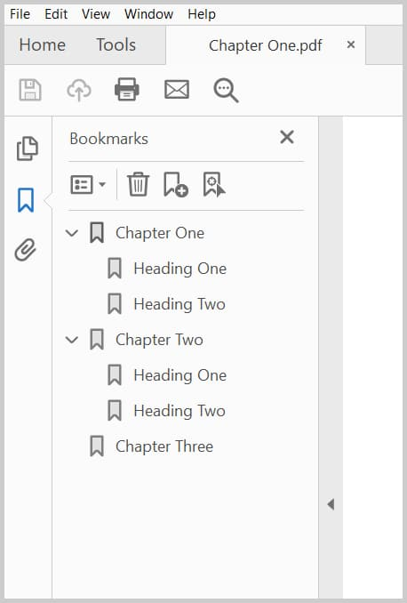 Image of Adobe Acrobat Bookmarks Panel