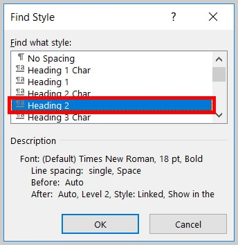Image of Word 365 / Word 2019Heading 2 in the Find Style Dialog Box
