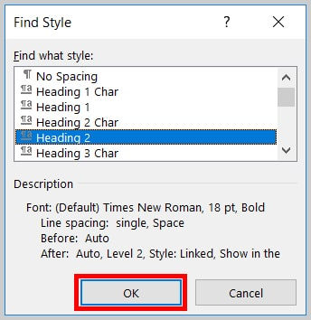 Image of Word 365 / Word 2019 OK Button in the Find Style Dialog Box