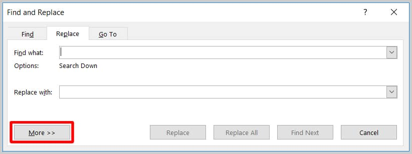 Image of Word 365 / Word 2019 More Button in the Find and Replace Dialog Box