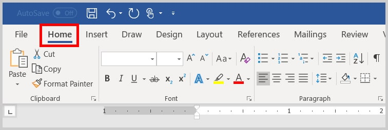 Image of Word 365 / Word 2019 Home Tab