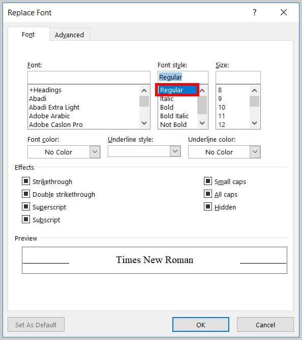 Image of Word 365 / Word 2019 Regular Option in the Replace Font Dialog Box