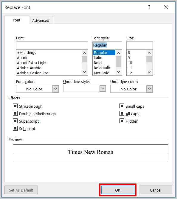Image of Word 365 / Word 2019 OK Button in the Replace Font Dialog Box