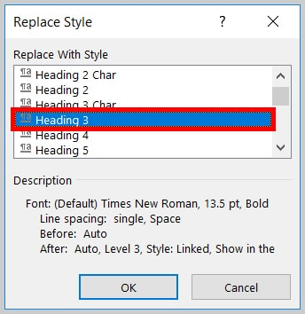 Image of Word 365 / Word 2019 Heading 3 in the Replace Style Dialog Box