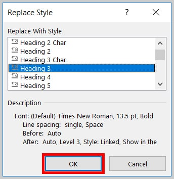 Image of Word 365 / Word 2019 OK Button in the Replace Style Dialog Box