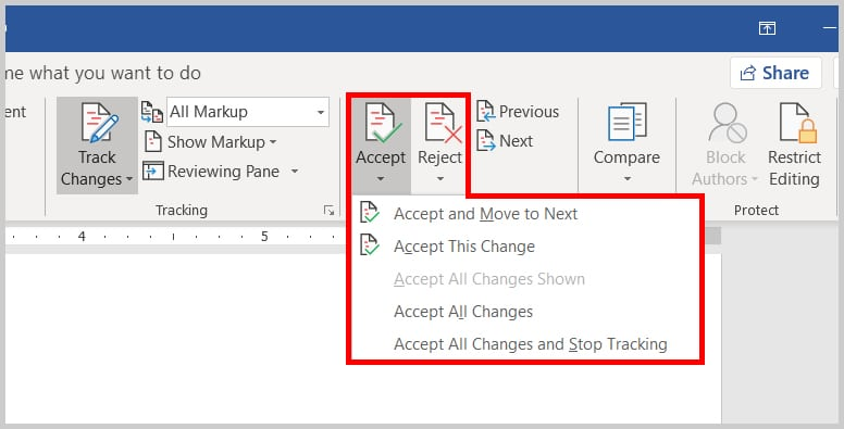 Image of Word 2019 / Word 365 Menu to Accept or Reject All Track Changes