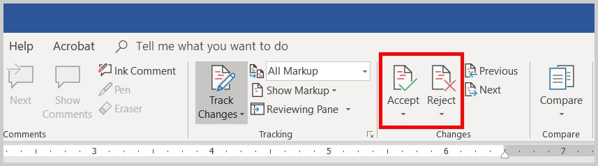 Image of Word 2019 / Word 365 Accept and Reject Track Changes Buttons