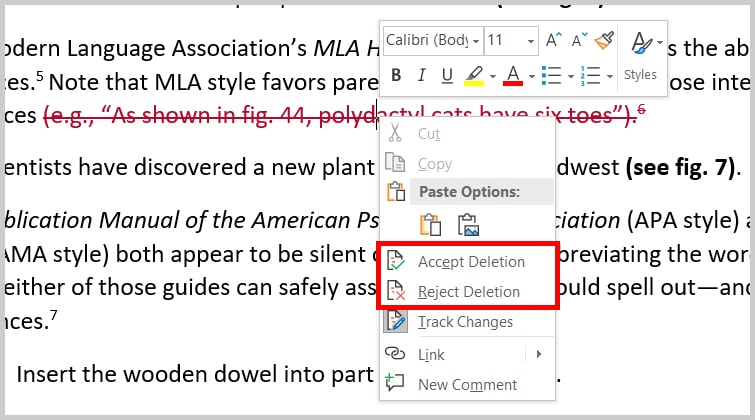 Image of Word 2019 / Word 365 Accept or Reject Track Changes Pop-Up Menu