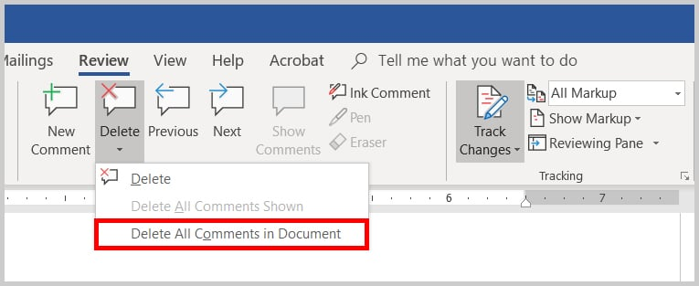 Image of the Word 2019 / Word 365 Delete All Comment in Document Option