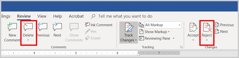 Image of Word 2019 / Word 365 Delete Comment Button and Reject Markup Button