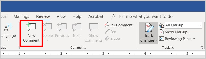 Image of Word 2019 / Word 365 New Comment Button