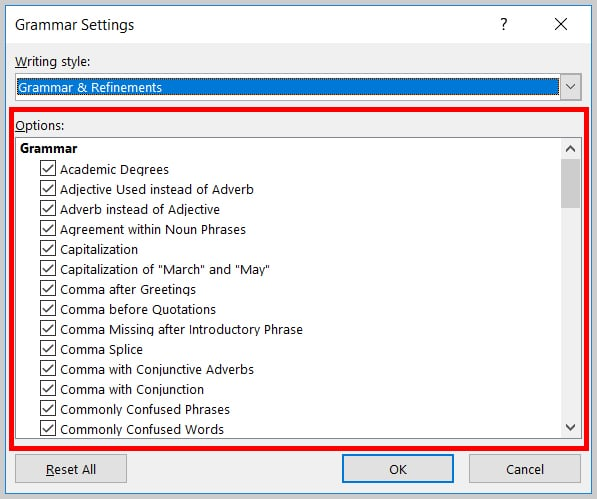 Image of Options in the Grammar Settings Dialog Box in Word 2019 / Word 365