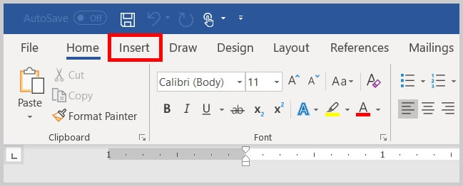 Image of Word 365 / Word 2019 Insert Tab