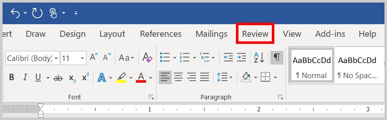 Image of the Review Tab in Word 2019 / Word 365