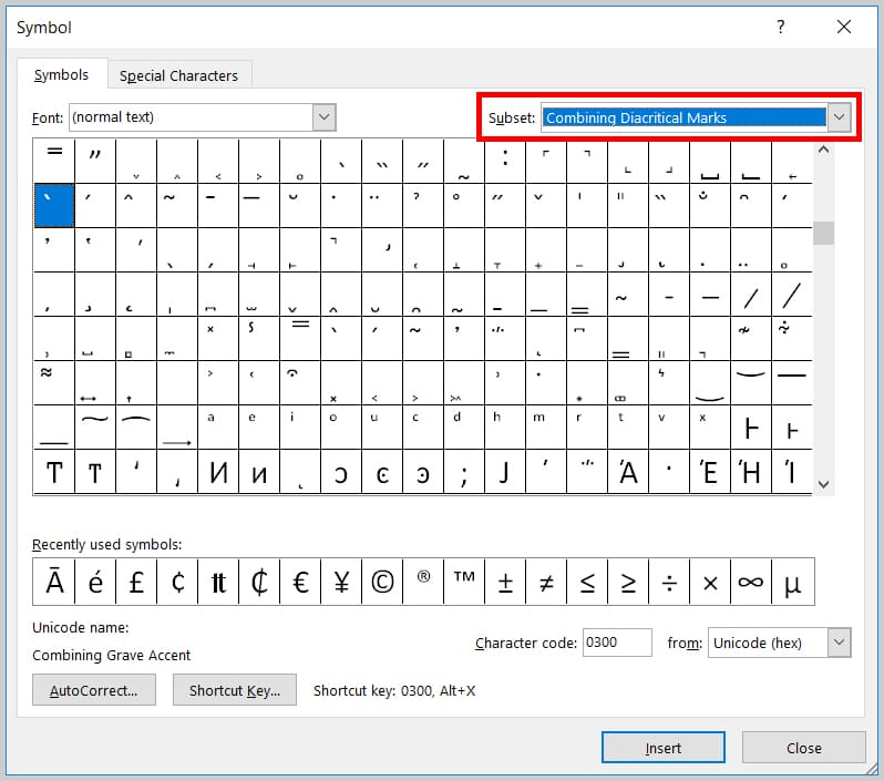 Image of the Word 365 / Word 2019 Combining Diacritical Marks in the Symbol Dialog Box