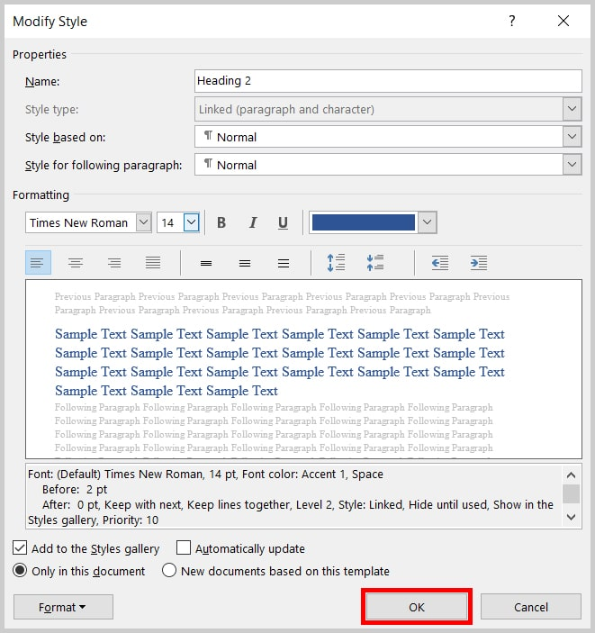 OK button in the Modify Style dialog box in Word 2019 / Word 365 | Step 8 in how to customize Word's Heading Styles