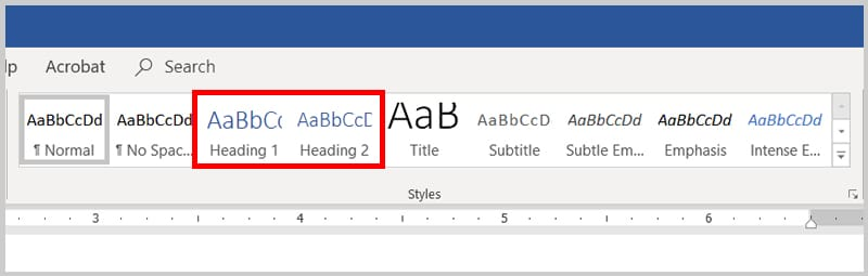 Word 2019 / Word 365 Styles Group | Step 3 in How to Create Headings Using Word's Heading Styles