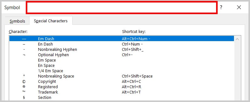 Empty space at the top of the Symbol dialog box in Word 2019/Word 365