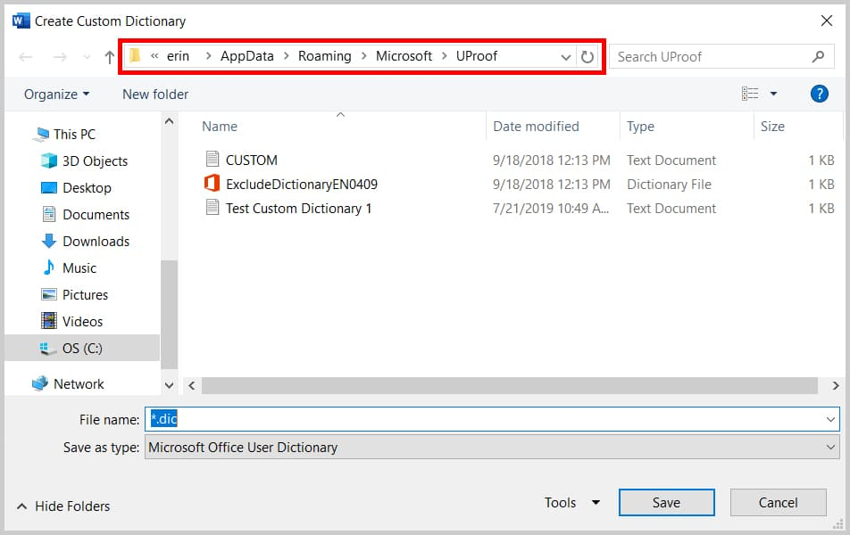 Create Custom Dictionary dialog box in Microsoft Word 2019 / Word 365 with file path highlighted