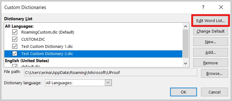 Edit Word List button in the Custom Dictionaries dialog box in Word 2019 / Word 365