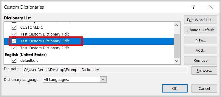 New dictionary add to the Custom Dictionaries dialog box in Word 2019 / Word 365