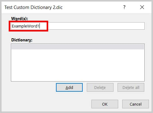Words(s) text box in the Edit Word List dialog box