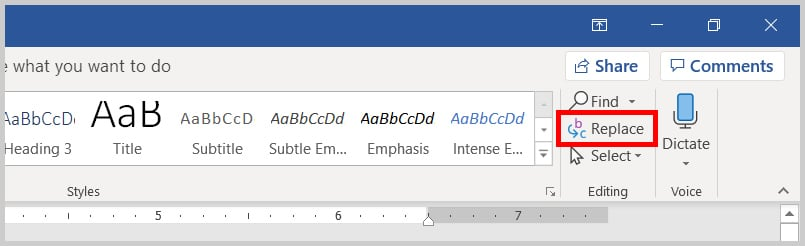 Replace button in the Editing Group in Word 2019/Word 365