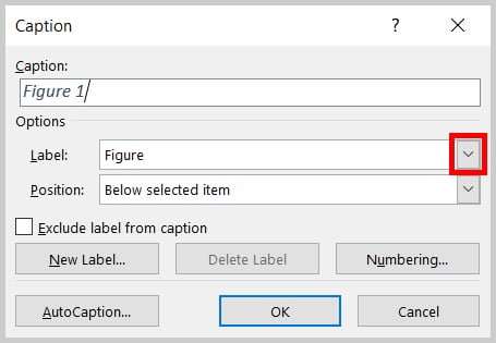 Label menu arrow in the Caption dialog box in Word 2019 / Word 365
