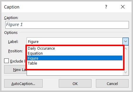 Label menu in the Caption dialog box in Word 2019 / Word 365