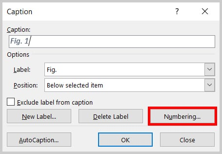 Numbering button in the Caption dialog box in Word 2019 / Word 365