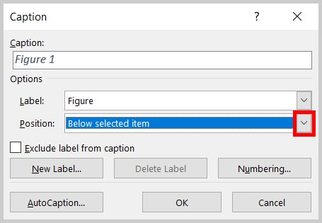 Position menu arrow in Caption dialog box in Word 2019 / Word 365
