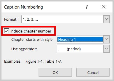 """Include chapter number"" checkbox in the Caption Numbering dialog box in Word 2019 / Word 365"