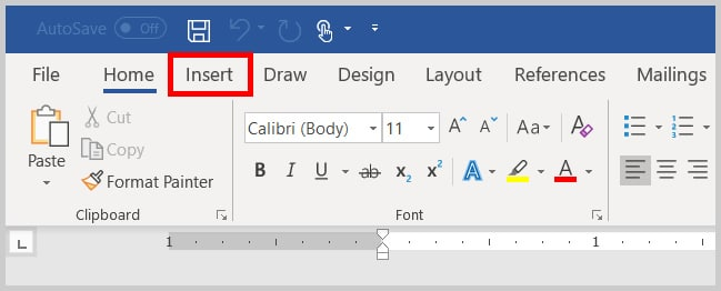 Insert tab in Word 365 / Word 2019