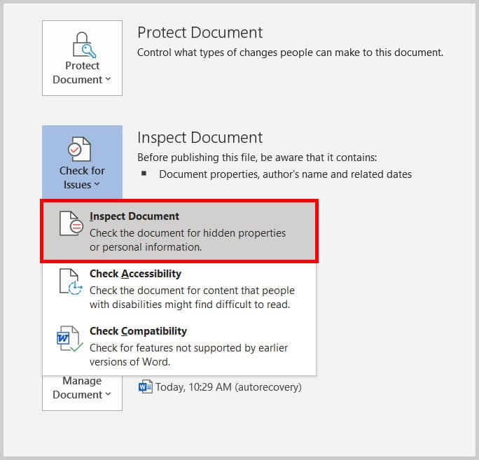 Inspect Document option in the Backstage view of Word 2019 / Word 365