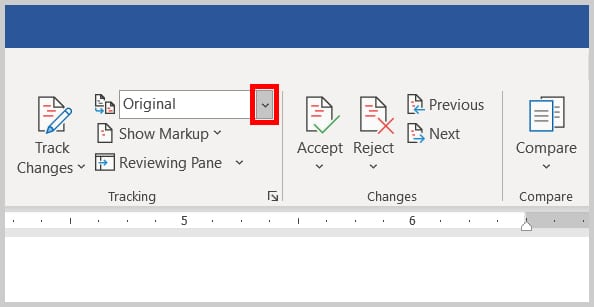 Display for Review menu arrow in Word 2019 / Word 365