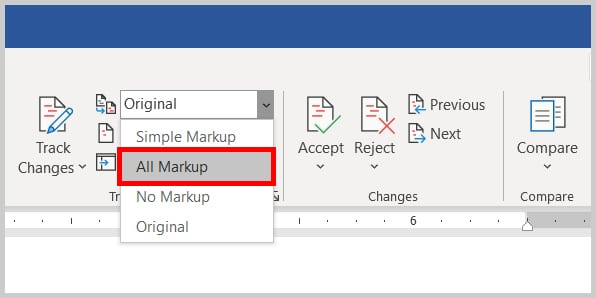All Markup display option in Word 2019 / Word 365
