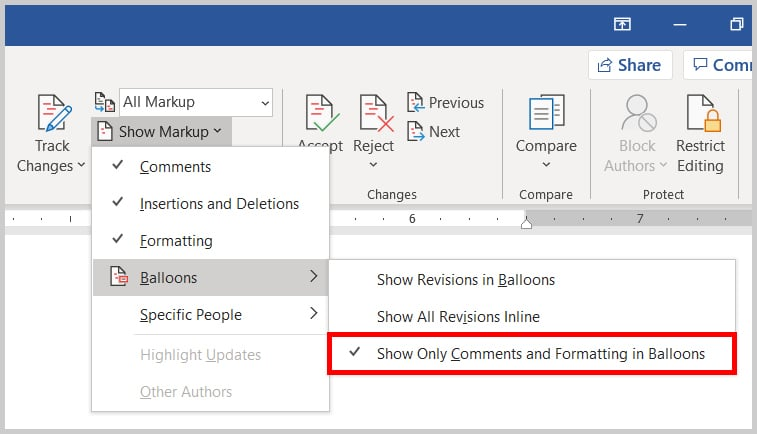 Show Only Comments and Formatting in Balloons option in Word 2019 / Word 365