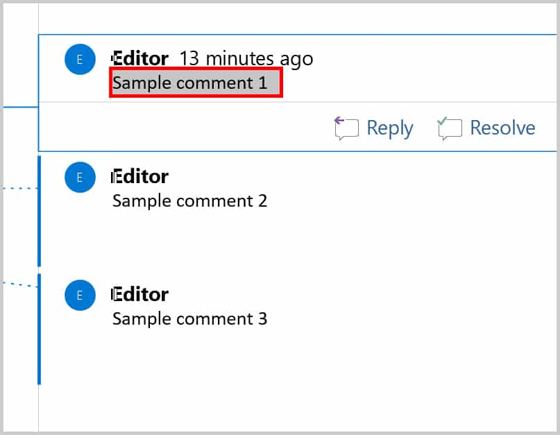 Text selected in first comment balloon in Word 2019 / Word 365