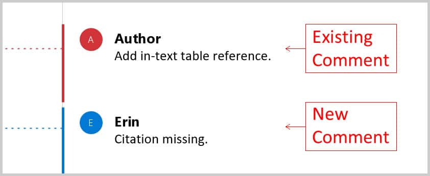 """Existing comment with """"Author"""" label and new comment with user name"""