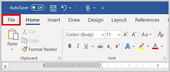 File tab in Word 2019 / Word 365