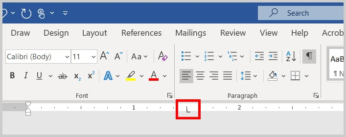 Left tab stop on the ruler in Word 365 / Word 2019